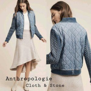 Cloth & Stone Quilted Chambray/Knit Bomber Jacket